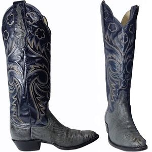 Larry Mahan 70s Flower Embroidered Cowboy Boots